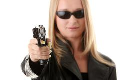 Portrait of the blonde with gun - stock photo