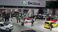 Cars on display Stock Footage