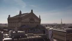 Roofs of Paris with Eiffel tower - pan movement Stock Footage