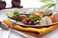 Greek vegetarian food mix pikilia - stock photo