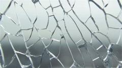Urban view through the broken glass Stock Footage