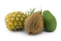 coconut, avocado, pineapple - stock photo