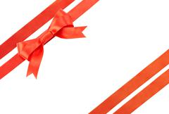 satin ribbon with a bow - stock photo