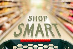 Shopping concept shop smart in supermarket Stock Photos