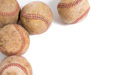 Vintage Leather baseballs on a white background Kuvituskuvat