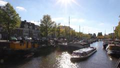 Tour boat in the canals of Groningen, Netherlands Stock Footage