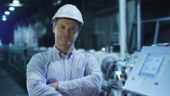 Portrait of Confident and Successful Engineer in Factory - stock footage