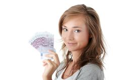 Woman holding euro money - stock photo