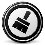 paintbrush icon with metal ring - stock illustration