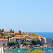 Sveti Stefan, small islet and resort in Montenegro. Balkans, Adriatic sea Stock Photos