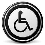 disabled icon with metal ring - stock illustration