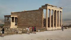Erechtheion - antique temple in Athenian Acropolis - stock footage