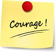 courage yellow note - stock illustration