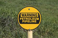 Warning Petroleum Pipeline Sign - stock photo