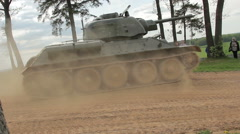 Tank on the move Stock Footage