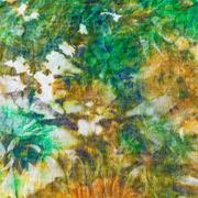 detail of painting on silk batik - stock photo