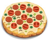 Stock Illustration of Vector Italian pizza with tomato, sausage and mushrooms