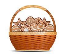 Stock Illustration of Basket with ginger cakes into white background