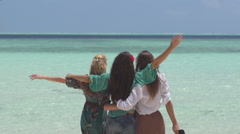 Young Women Enjoy Spectacular View Of Tropical Sea Stock Footage