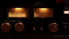 Turn on vintage reel to reel, VU meter, sound level, audio, display, knobs Stock Footage