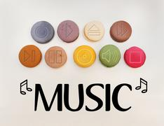 Symbols and signs set used on music players and in music as general - stock photo