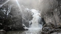 waterfall in winter - stock footage