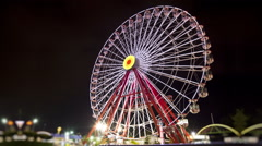 Ferris Wheel at Night (Timalapse-Loopable) Stock Footage