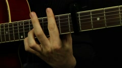 Male hands playing the guitar Stock Footage