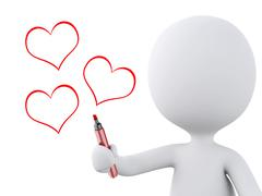 red heart drawn by white people. Love concept - stock illustration