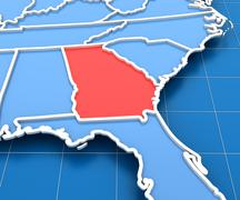 3d render of USA map with Georgia state highlighted - stock illustration