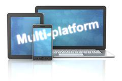 Smartphone, tablet and laptop with multi-platform word, 3d rende - stock illustration