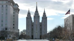 Salt Lake City LDS Temple Mormon Stock Footage