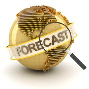 Global financial forecast symbol with globe, 3d render Stock Illustration