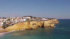 Aerial from the village Carvoeiro in the Algarve Portugal Stock Footage