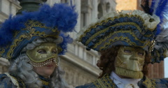 Two typical venetian masks in San Marco Stock Footage