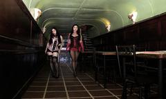 Cabaret women entrying in a bar Stock Photos