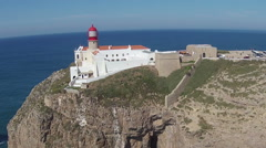 Aerial from the lighthouse Cabo Vicente near Sagres in Portugal Stock Footage
