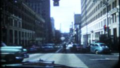 1907 - generic busy city street scene filmed from car - vintage film home movie Stock Footage