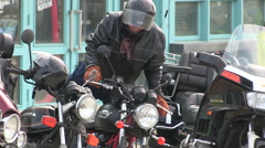 Motorcycle enthusiasts and bikers in Port Dover Friday the 13th Stock Footage