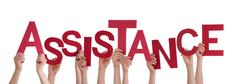 Many People Hands Holding Red Word Assistance - stock photo