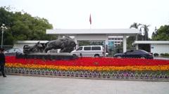 Shenzhen, China: city sculpture landscape cattle Stock Footage