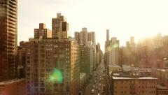 Urban city lifestyle background. sun flare sunset magic hour. nyc metropolis Stock Footage