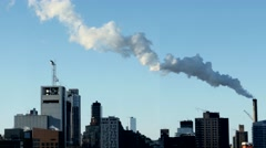 Smog pollution background. urban city environment. steam smoke Stock Footage
