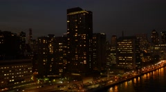 Stock Video Footage of aerial view of epic city skyline scenery at night. new york city