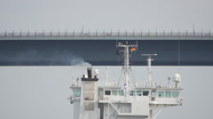 Smoke from Cargo Ship Kiel Canal Stock Footage