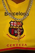 Unidentified Barcelona Sporting Club fan wearing a t-shirt of his team, Ecuador Stock Photos