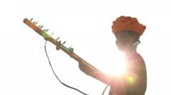 Indian musician at the attended the annual Pushkar Camel Mela. India Stock Footage