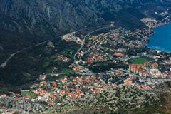 Bay of Kotor with bird's-eye view. The town of Kotor, Muo, Prcanj, Tivat. Stock Photos