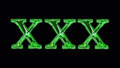 liquid fills xxx .  green on black + version with alpha channel . 4K - stock footage