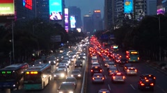 Night traffic landscape Shenzhen Shennan Avenue, in China Stock Footage